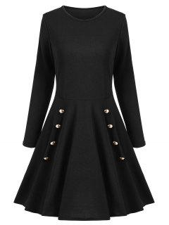 A Line Long Sleeves Buttoned Dress - Black S