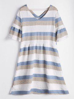 Flare Sleeve Cut Out Striped Dress - Cloudy L