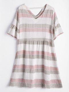 Flare Sleeve Cut Out Striped Dress - Shallow Pink L