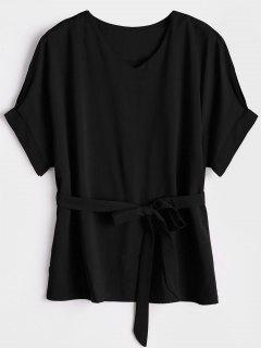 V Neck Belted Blouse - Black M