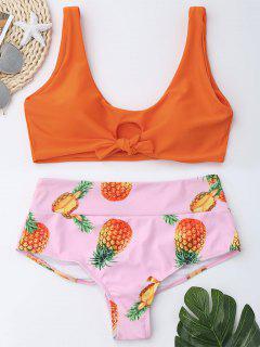 Bralette Bikini Set Mit Ananas Druck Und Hoher Taille - Orange  M