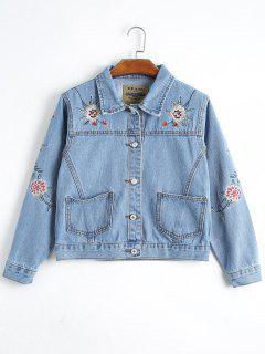 Button Up Floral Embroidery Denim Jacket - Denim Blue Xl
