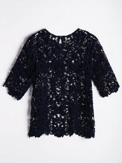 Cut Out Bluse Mit  Spitze Und Unbearbeitetem Saum - Schwarzblau M