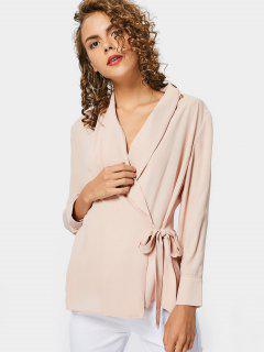 Fitting Chiffon Wrap Blouse - Nude Pink L