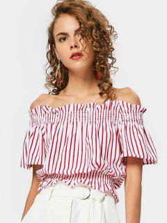 Ruffled Smocked Panel Off Shoulder Top - Stripe M