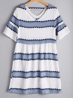 Flare Sleeve Striped Cut Out Dress - Stripe M