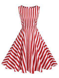 Striped High Waist Skater Dress - Red S