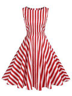 Striped High Waist Skater Dress - Red L