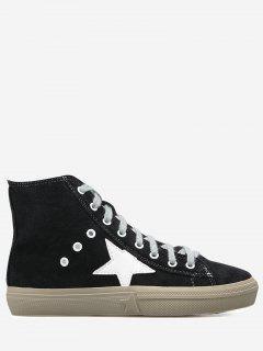 Zipper Eyelets Color Block Athletic Shoes - Black 37