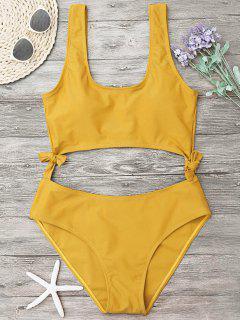 Hohes Bein Ausgeschnitten Schleife Badeanzug - Ingwer-gelb L
