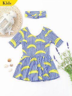 Cutout Banana Striped Skirted Kid Swimwear - Stripe 4t