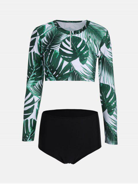 buy Long Sleeve Tropical Leaf Print Diving Wetsuit - COLORMIX L Mobile