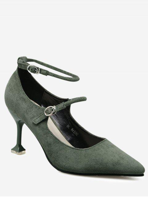 affordable Double Buckle Strap Strange Style Pumps - GREEN 39 Mobile