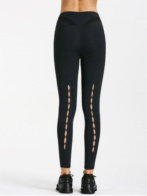 women Cut Out Mesh Workout Leggings - BLACK S Mobile