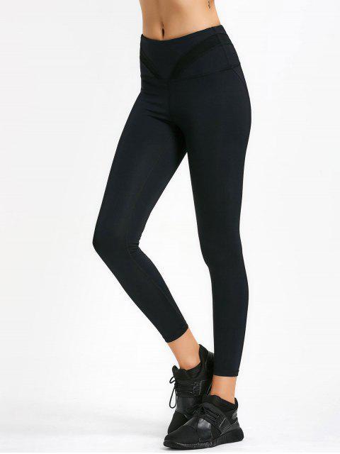 women Cut Out Mesh Workout Leggings - BLACK S Mobile