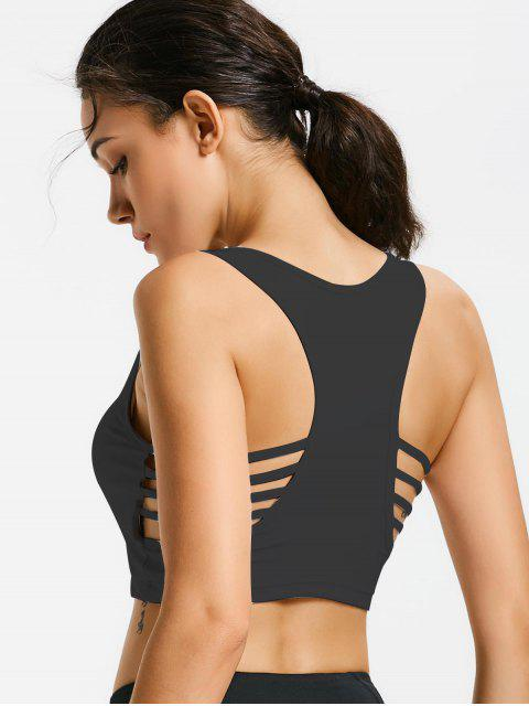 outfit Ladder Cut Padded Cropped Gym Top - BLACK L Mobile