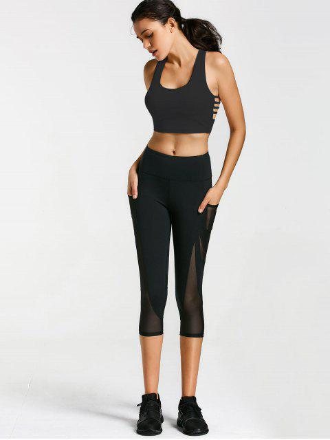 shop Ladder Cut Padded Cropped Gym Top - BLACK S Mobile