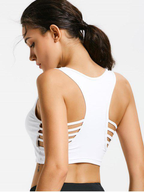 ladies Ladder Cut Padded Cropped Gym Top - WHITE S Mobile