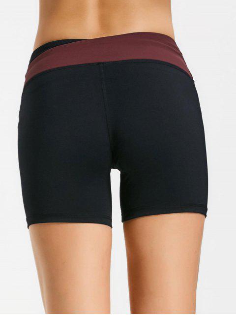 Shorts de couleur asymétrique à la taille - Rouge L Mobile