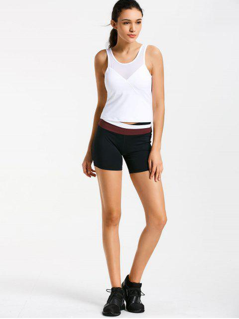 chic Asymmetric Waist Color Block Shorts - RED M Mobile