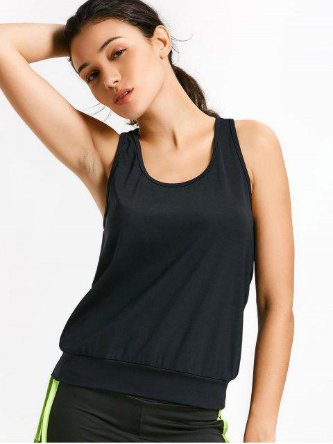unique Racerback Mesh Draped Sports Top - BLACK S Mobile