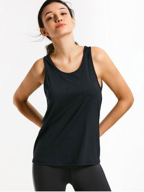 shop Scoop Back Cut Out Sports Top - BLACK L Mobile