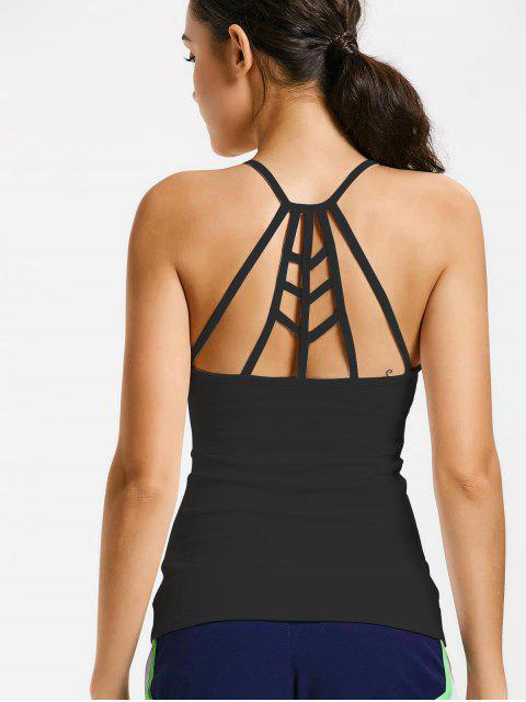best Back Strappy Padded Gym Top - BLACK S Mobile