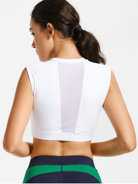 Soutien gorge de sport long embelli patchwork maille à encolure bijou - Blanc M Mobile