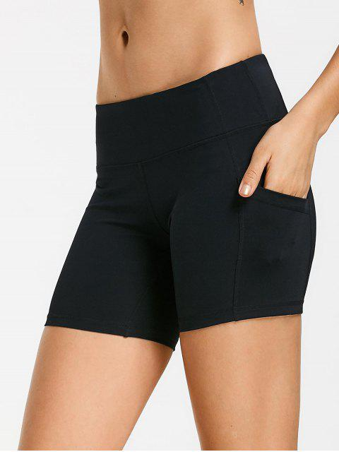 womens Active Pockets Workout Shorts - BLACK L Mobile