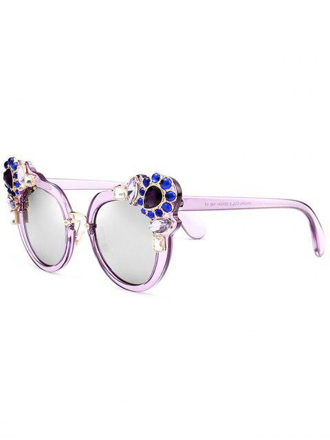 Faux Kristall Edelstein Intarsien Anti UV Sonnenbrille - Lila  Mobile