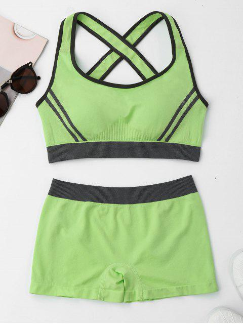 lady Contrast Trim Crisscross Sports Suit - APPLE GREEN M Mobile