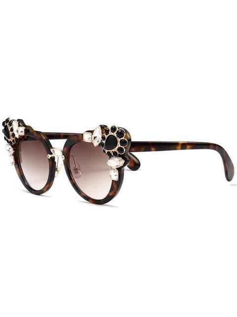 fashion Faux Crystal Gemstone Inlay Anti UV Sunglasses - TEA-COLORED  Mobile