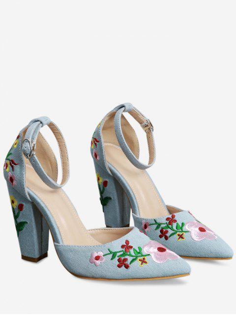 shop Embroidery Block Heel Two Piece Pumps - LIGHT BLUE 37 Mobile