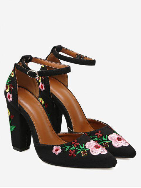 women Embroidery Block Heel Two Piece Pumps - BLACK 38 Mobile