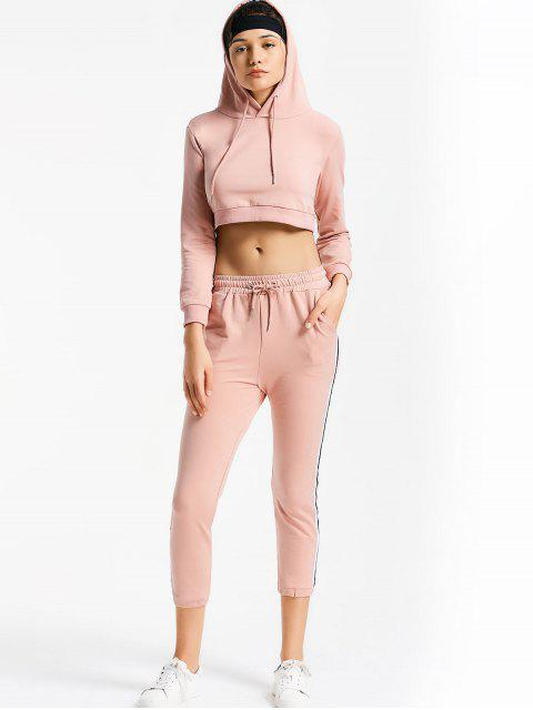 online Sporty Drawstring Hoodie with Pants - PINK S Mobile