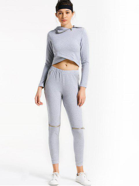 ladies Asymmetric Crossover Hoodie with Jogger Pants - GRAY L Mobile