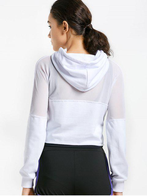 lady Cropped Mesh Sports Hoodie - WHITE S Mobile