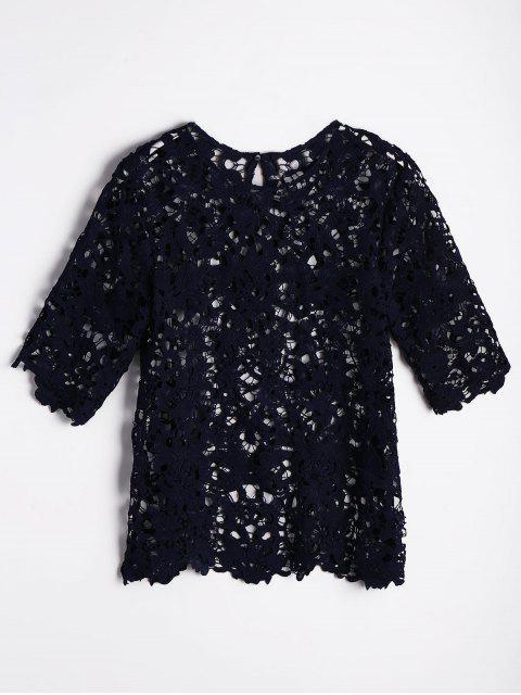 Unfinished Hem Recortado blusa de encaje - Azul Purpúreo M Mobile