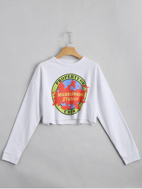 outfit Drop Shoulder Letter Print Crop Sweatshirt - WHITE M Mobile