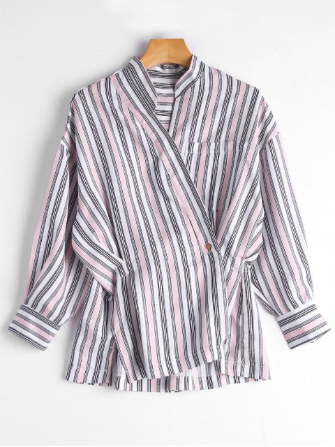 Blusa de botón rayado asimétrico - Rosa Única Talla Mobile