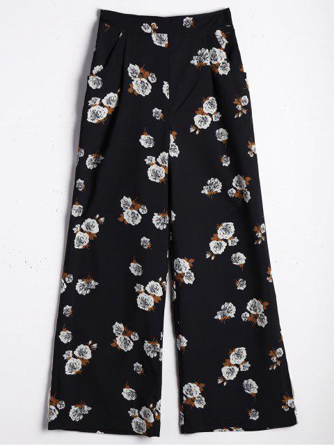 Pantalones de pierna ancha de gran cintura - Floral L Mobile