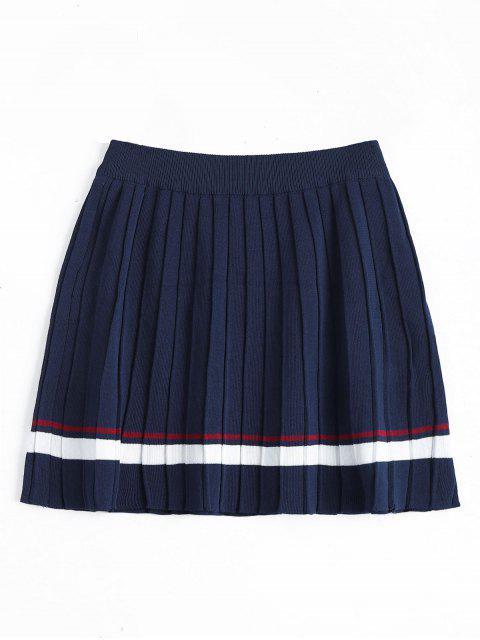 Falda plisada rayada de cintura alta - Azul Profundo Talla única Mobile
