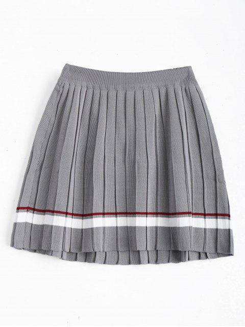 Falda plisada rayada de cintura alta - Gris Única Talla Mobile