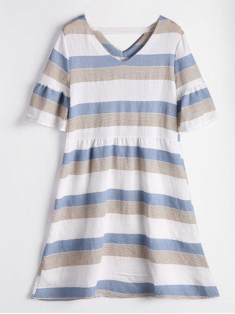 Vestido de rayas recortadas de manga corta - Nublado XL Mobile