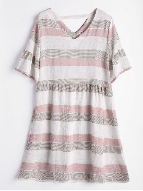 Vestido de rayas recortadas de manga corta - Rosado Claro S Mobile