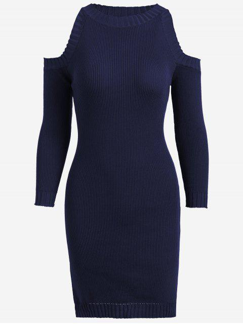 online Knitting Slit Cold Shoulder Pencil Dress - PURPLISH BLUE ONE SIZE Mobile