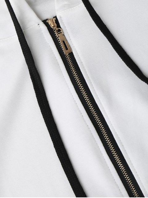 Side Stripe con capucha y pantalones cortos Set - Blanco M Mobile