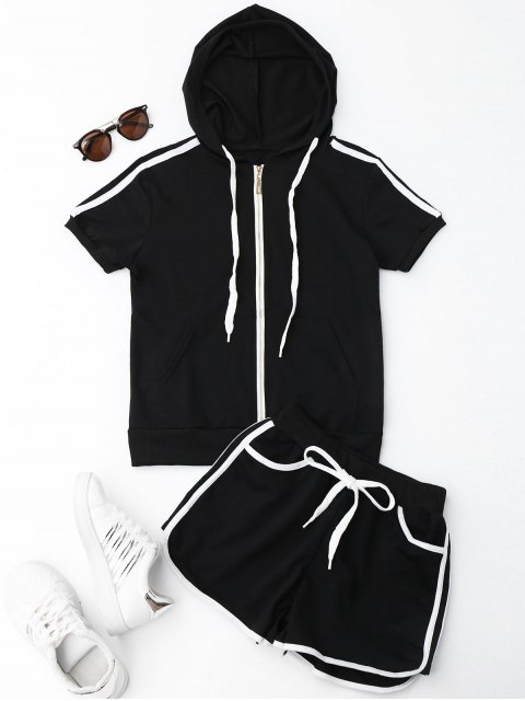 trendy Side Stripe Hooded Top and Shorts Set - BLACK L Mobile