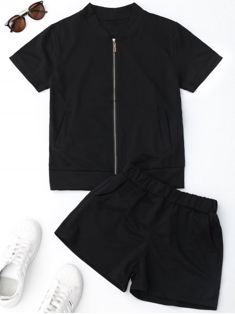 buy Zip Up Top and Shorts Sweat Suit - BLACK M Mobile