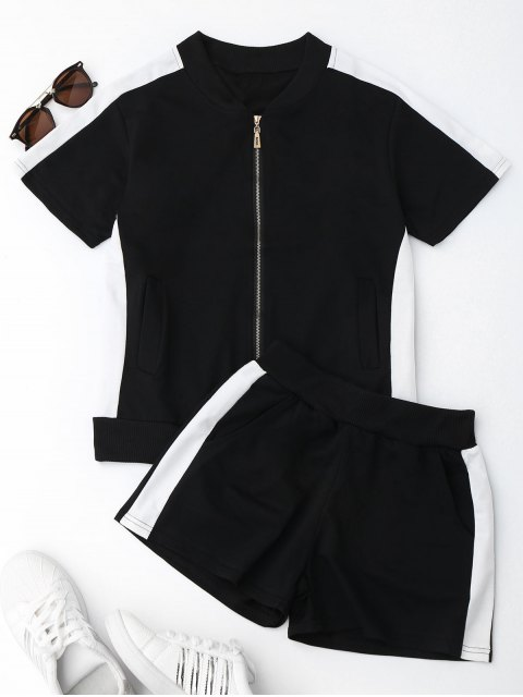 best Two Tone Top and Shorts Sweat Suit - BLACK XL Mobile